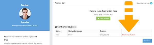 learncube-delete student enrolment