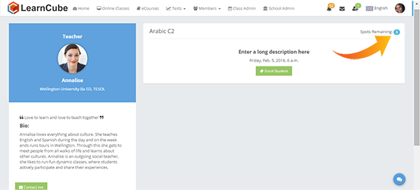 learncube-enrol student spots